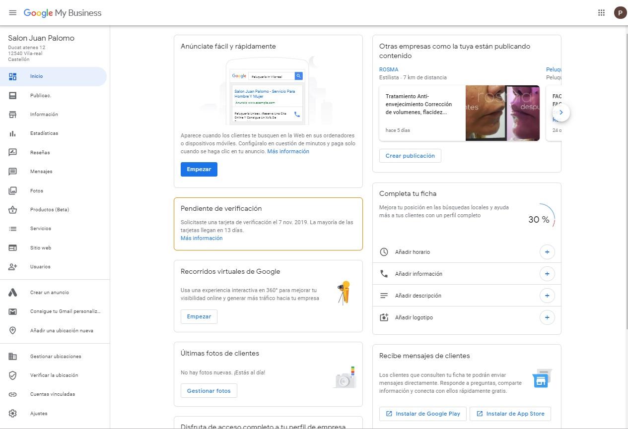 panel de control google my business